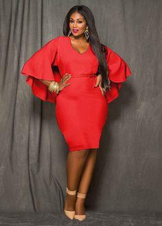 Solid Color Batwing Bodycon Dress Women V Neck Knee-Length Asymmetric Pencil Party Plus Size Dress