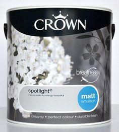 Crown matt emulsion paint in Spotlight (grey)