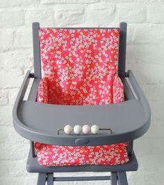 Demeure des Anges  Coussin de chaise haute en tissu Liberty Mitsi rose