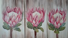 Protea Art, Protea Flower, Watercolor Red, Watercolor Paintings, Painting On Pallet Wood, Blue Flower Wallpaper, Canvas Painting Tutorials, Creative Arts And Crafts, Floral Drawing