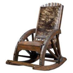 Western Teak Wood Rocking Chair W/ Leather