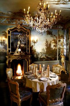 ♡ SecretGoddess ♡ Best pins I've ever found! a formal dining room with mural walls in my castle getaway (Photo: Turandot Restaurant, Moscow) Interior And Exterior, Interior Design, Elegant Dining, Classic Interior, Cafe Restaurant, Beautiful Interiors, Decoration, Sweet Home, Room Decor