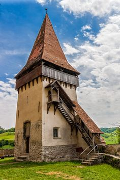 This is a defense tower inside the fortified church in Biertan, Romania, was built between 15-16 century. Www.romaniasfriends.com