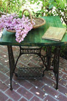 Antique Iron Singer Sewing Machine Table by CKKFindsAndDesignsLA