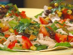 Chicken Tostada with Corn, Pickled Jalapenos and Black Beans Recipe : Robin Miller : Food Network