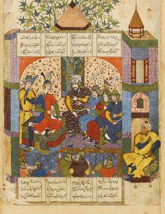 https://flic.kr/p/vitZtm | Rustam reporting his victory to Kay Khosrow | بدو گـفـت گودرز کای شـهریار سـخـنـها  درازسـت  زین کارزار می و جام وآرام باید نـخـسـت پـس   آنـگاه ازین کار پرسی درست بازگشتن رستم به درگاه شاه، برگ مصور از نسخه خطی شاهنامه فردوسی، دوره صفویان، قزوین و یا مشهد، 988 هجری قمری گواش آبرنگ با طلا بر روی کاغذ، حراجی ساتبی. نقاشی: 25 در 22cm.  An illustrated and illuminated leaf from a manuscript of Firdausi's Shahnameh: Rustam reporting his victory to Kay Khosrow, Persia…