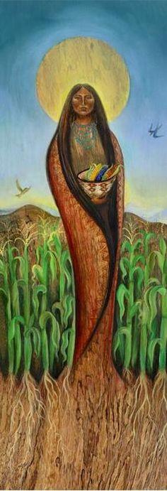 Pachamama Señora del Maíz; Por eso es maíz mi sangre Maíz mi piel mi tortilla El Maíz mi sol, mi luna Vuelo de quetzal Madre Tierra, soy tu hija Y a vos debo regresar.