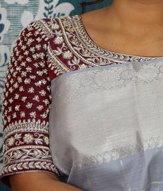 Kerala Saree Blouse Designs, Wedding Saree Blouse Designs, Saree Blouse Neck Designs, Zardosi Work Blouse, Maggam Work Designs, Designer Blouse Patterns, Indian Designer Wear, Maggam Works, Global Market