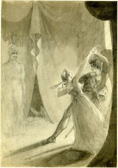 Theodor Matthias von Holst, illustration to Hamlet, Act III, Scene IV; Hamlet and his mother Queen Gertrude on the right, the ghost of Old Hamlet in armor standing to left, the feet of the slain Polonius in the right background (ca. 1818-44)
