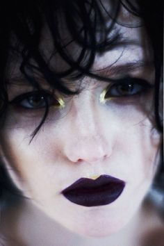 Purple lips and gold eyes. Time to shine!
