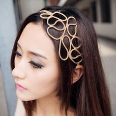 Europe Style and Elegant Openwork Braided Flower Shape Hair Band For Women, GOLD in Hair Accessories | DressLily.com