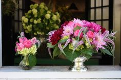 centerpiece with wild pink veronica - by Botany Flowers