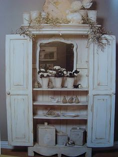 Interesting Idea to use the Armoire as Display. White, Grey, Black, Chippy, Shabby Chic, Whitewashed, Cottage, French Country, Rustic, Swedish decor Idea. ***
