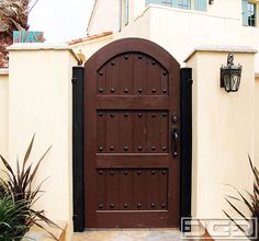 Spanish Style Wooden Gates | Dynamic Garage Door | Designer Pedestrian Gate : Architectural Gates