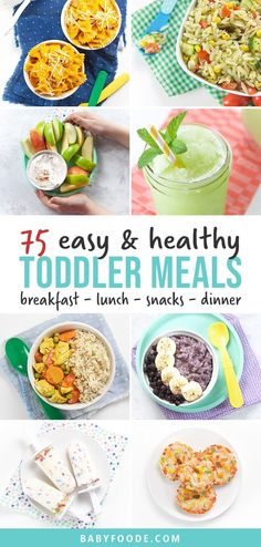 This Master List of 75 Toddler Meals is full of healthy and easy breakfast, lunch, snack and dinner recipes for your little one! Most of these recipes can be made in 5-30 minutes, are freezer-friendly and have allergy modifications. #toddlermeals #toddlerrecipes #healthy #easy Healthy Toddler Meals, Toddler Lunches, Easy Healthy Recipes, Baby Food Recipes, Dinner Recipes, Toddler Food, Toddler Dinners, Toddler Recipes, Drink Recipes