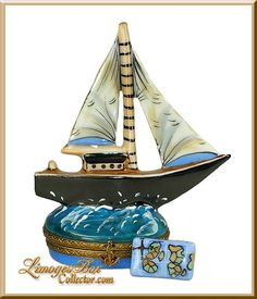 Sail away with this amazing Sailboat Limoges box by Beauchamp Limoges www.LimogesBoxCollector.com