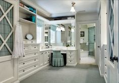 I'd love to have the closet that close to the bathroom. I really love this idea.