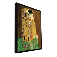 'The Kiss' by Gustav Klimt Floater Framed Painting Print Gallery-Wrapped on Canvas