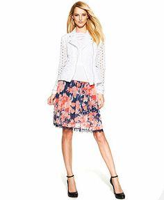 INC International Concepts Lace-Trim Floral-Print Skirt