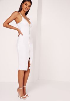 Missguided - Zip Front Scuba Bodycon Dress White