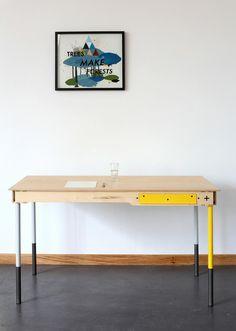 check it out: Pedersen and Lennard Geometric Furniture, Furniture Design, Writers Desk, Simple Desk, Minimalist Furniture, Cafe Interior, Interior Design, Home Office Design, Furniture Making