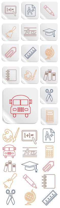 Education and School Vector Icons Set - > Flat icon set for Web and Mobile… Logo Design, Icon Design, Web Design, Flat Design, Graphic Design, School Icon, Education Icon, Vector Icons, Vector Vector