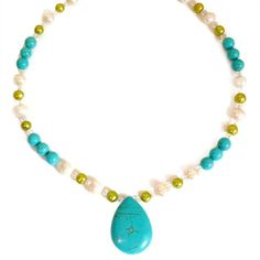 Every Morning Design Turquoise and Green Pearl Necklace | Overstock.com Shopping - The Best Prices on Necklaces