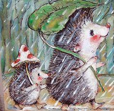 miliaart -- in Portland, Oregon -- Original Collage Painting Mom and baby hedgehog walking in the rain OOAK by miliaart Hedgehog Drawing, Hedgehog Art, Hedgehog Illustration, Cute Illustration, Happy Hedgehog, Painting Collage, Beatrix Potter, Cute Art, Illustrators