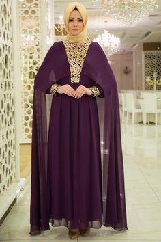Neva Style - Pelerinli Pul Payetli Mor Tesettür Abiye Elbise 52551MOR