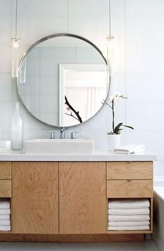 Bathroom Ideas Mirrors shiplap, round mirror. | gray white bathrooms | pinterest | round