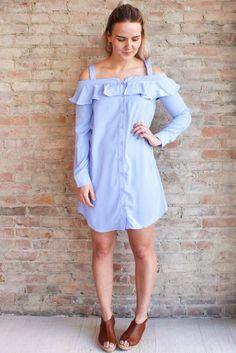 Riviera Shirt Dress #affordable-fashion-clothing #shirtdress #skyBlue