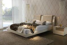 Fantastic Beige Full Headboard Floating Bed Design