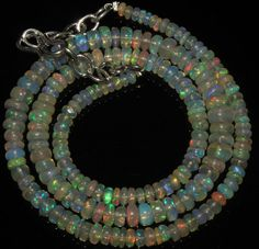 "47 Crts 1 strand 3to6mm 16"" Beads necklace Ethiopian Welo Fire  Opal  AA++55504"