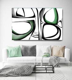 Mid Century Abstract 1-3. Mid-Century Modern Green Black