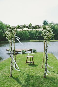 ceremony decor idea- on a peninsula over a dock jutting out over a beautiful private lake- how special!