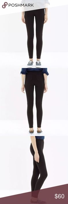 "MADEWELL PIECED PONTE LEGGINGS BLACK $99 MADEWELL PIECED PONTE LEGGINGS BLACK SZ 4  STYLE # B1863  RETAIL PRICE $98.50  PURCHASED AT MADEWELL  FABRIC IS NICE AND THICK - PONTE FABRIC - NOT YOUR ORDINARY THIN LEGGING    Product Details With cool pieced details (and handy back pockets), these pull-on pants have plenty of polish. Sits at hip. Fitted thru hip and thigh, with a slim leg. Front Rise:  9"" Inseam:  26 1/2"" Leg opening:  9"" Waist:  13.5""  lying flat. 68% Viscose / 27% Nylon / 5%…"