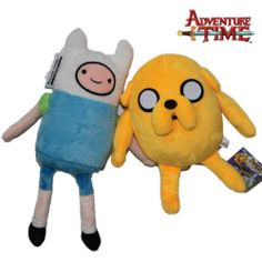 """2X Adventure Time With Finn and Jake 12"""" Character Stuffed Animal Doll Plush Toy"""