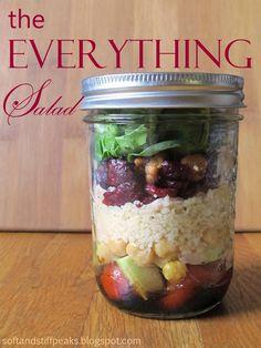 Soft and Stiff Peaks: Mason Jar Salad - Everything EditionBalsamic vinaigrette = balsamic vinegar + salt + honey + olive oil