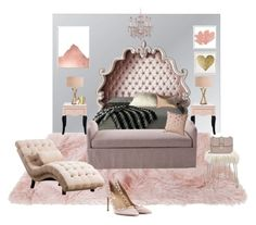 Sophisticated Blush and Grey (Bedroom Edition) Blush Grey Bedroom, Blush And Grey, Interior Decorating, Interior Design, Accent Chairs, House Design, Interiors, Polyvore, Furniture