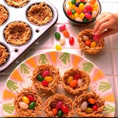 Easter:  Jelly Bean Nests, great with other candies too. You can use colored licorice for handles and make them baskets!!    Help us fight hunger in partnership with Feeding America when you pin or re-pin Land O'Lakes recipes. Learn more at www.landolakes.com/FeedingAmerica.