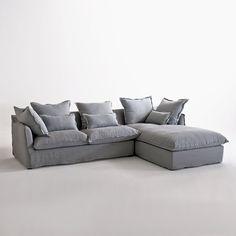 Canapé d angle gauche 7 places en lin lavé gris clair