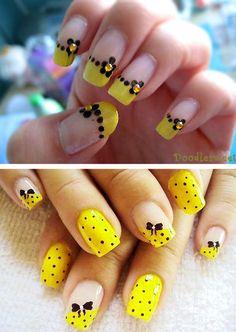 Фото желтый френч на короткие ногти