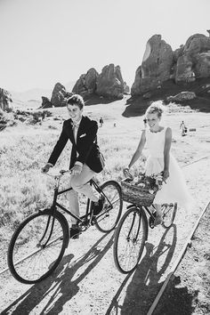 bicycling bride + groom