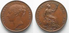 1859 England GREAT BRITAIN Penny 1859 VICTORIA copper about UNC!!! # 95216 AU