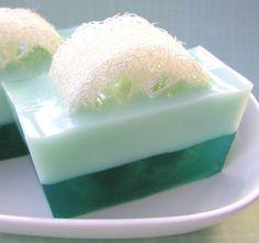 Soap - Eucalyptus and Mint Loofah Soap -  Natural Glycerin - Pastel Green - Loofah Soap. $6.00, via Etsy.