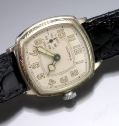 1920s Illinois watch, white-gold filled engraved case, 33 mm length