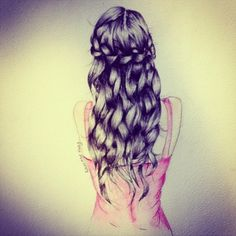 beautiful, braid, drawing, girl