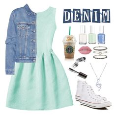 """""""Denim Jacket"""" by chocolart ❤ liked on Polyvore featuring Acne Studios, Converse, Essie, Bobbi Brown Cosmetics, Lime Crime, Accessorize and BERRICLE"""