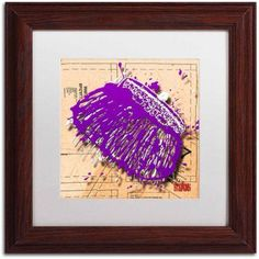 Trademark Fine Art Snap Purse Purple Canvas Art by Roderick Stevens, White Matte, Wood Frame, Size: 16 x 16