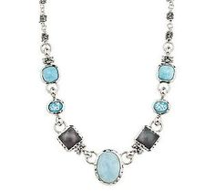 Michael Dawkins Sterling Gemstone Adjustable Necklace
